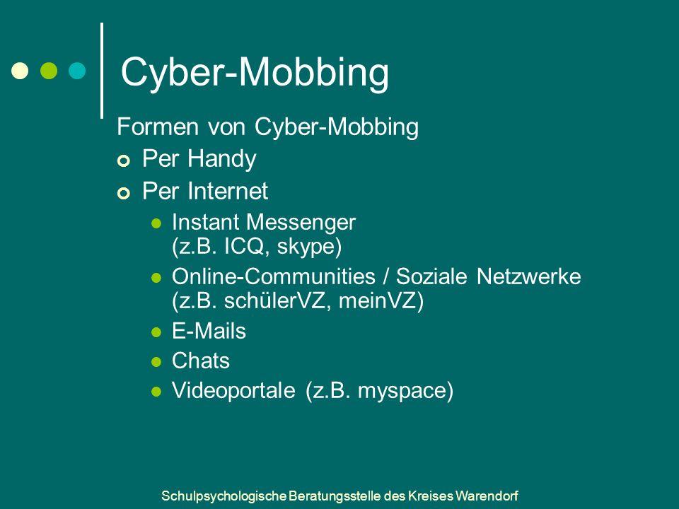 Schulpsychologische Beratungsstelle des Kreises Warendorf Cyber-Mobbing Formen von Cyber-Mobbing Per Handy Per Internet Instant Messenger (z.B.