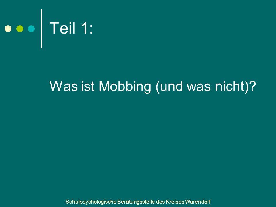 Schulpsychologische Beratungsstelle des Kreises Warendorf Teil 1: Was ist Mobbing (und was nicht)?