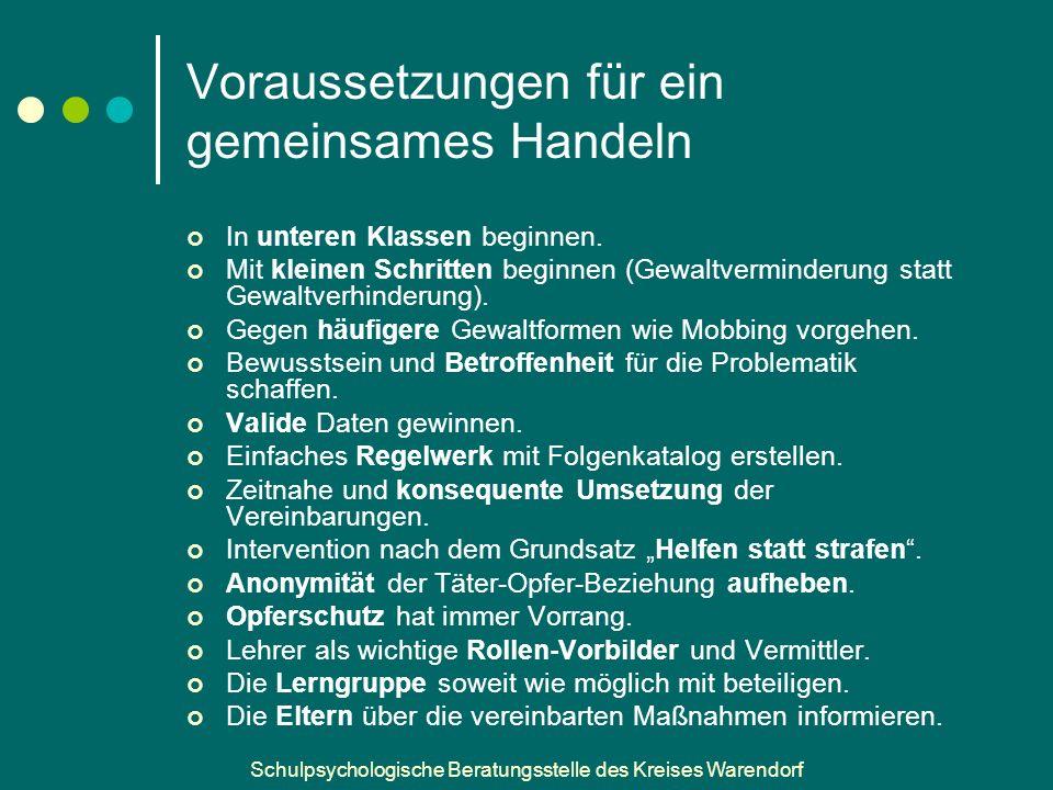 Schulpsychologische Beratungsstelle des Kreises Warendorf Voraussetzungen für ein gemeinsames Handeln In unteren Klassen beginnen.