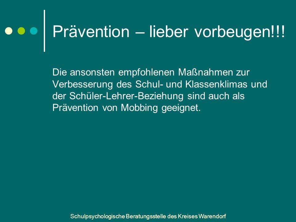 Schulpsychologische Beratungsstelle des Kreises Warendorf Prävention – lieber vorbeugen!!.