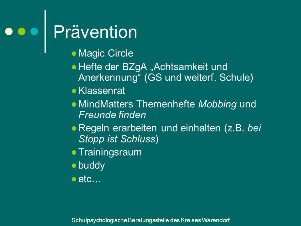 """Schulpsychologische Beratungsstelle des Kreises Warendorf Prävention Magic Circle Hefte der BZgA """"Achtsamkeit und Anerkennung (GS und weiterf."""