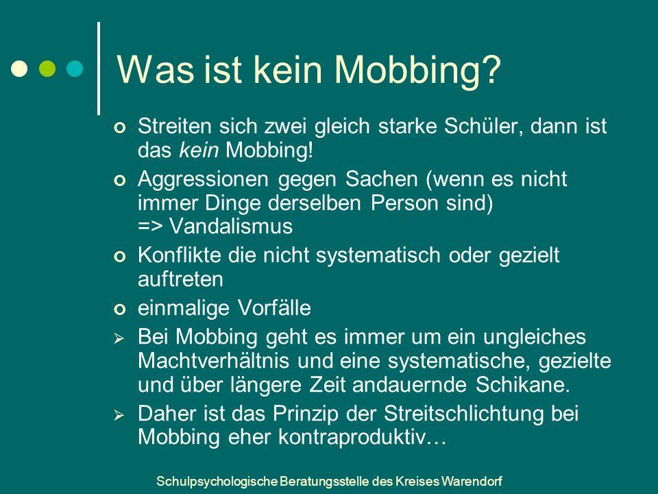 Schulpsychologische Beratungsstelle des Kreises Warendorf Was ist kein Mobbing.