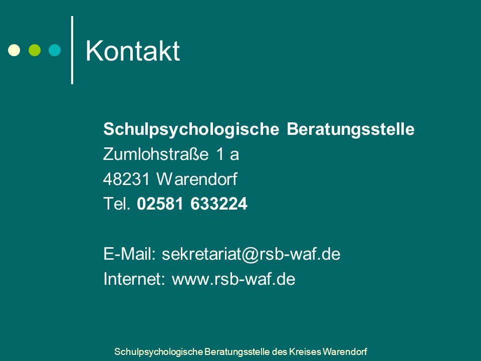 Schulpsychologische Beratungsstelle des Kreises Warendorf Kontakt Schulpsychologische Beratungsstelle Zumlohstraße 1 a 48231 Warendorf Tel.