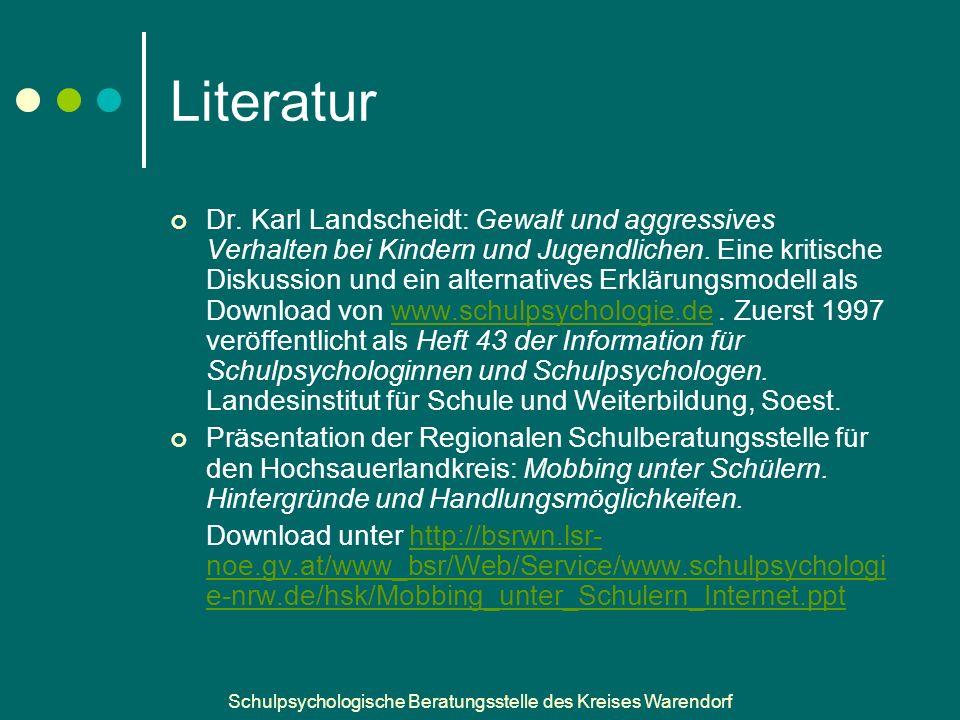 Schulpsychologische Beratungsstelle des Kreises Warendorf Literatur Dr.