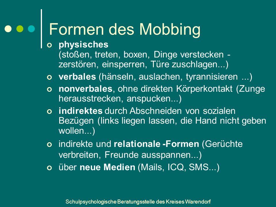 Schulpsychologische Beratungsstelle des Kreises Warendorf Woran erkenne ich Mobbing.