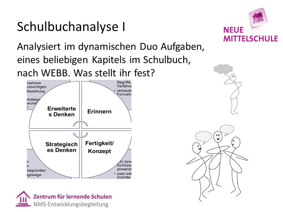 Schulbuchanalyse I Analysiert im dynamischen Duo Aufgaben, eines beliebigen Kapitels im Schulbuch, nach WEBB. Was stellt ihr fest?