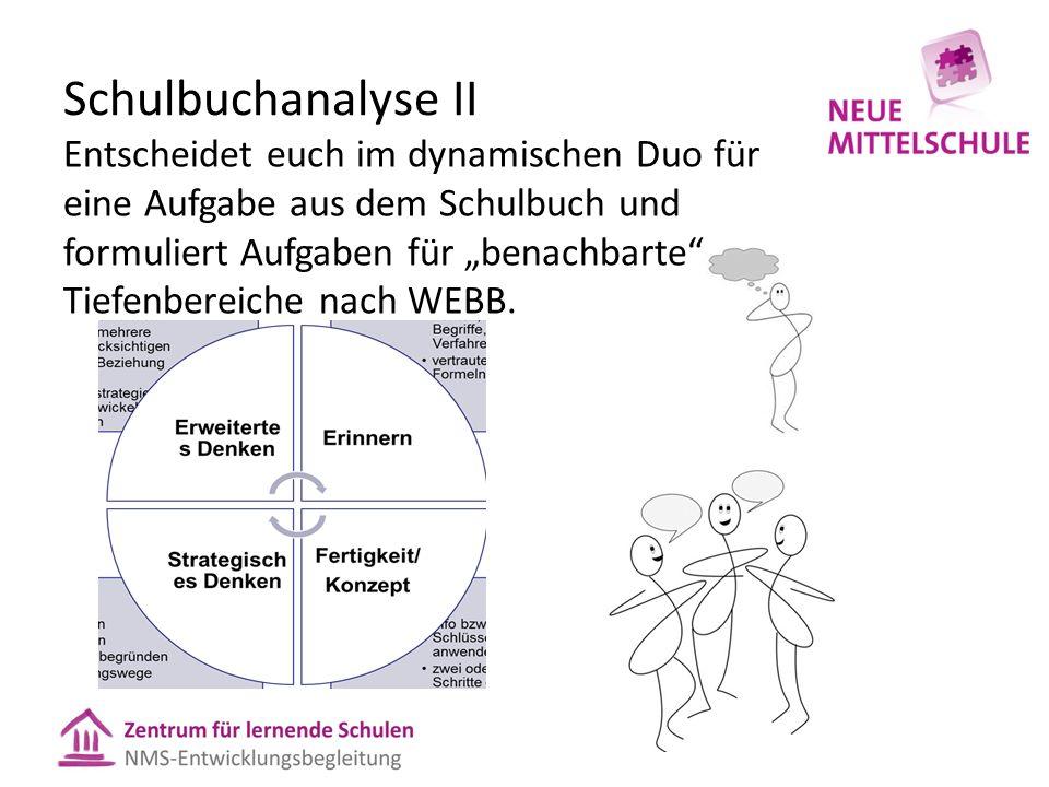 """Schulbuchanalyse II Entscheidet euch im dynamischen Duo für eine Aufgabe aus dem Schulbuch und formuliert Aufgaben für """"benachbarte"""" Tiefenbereiche na"""