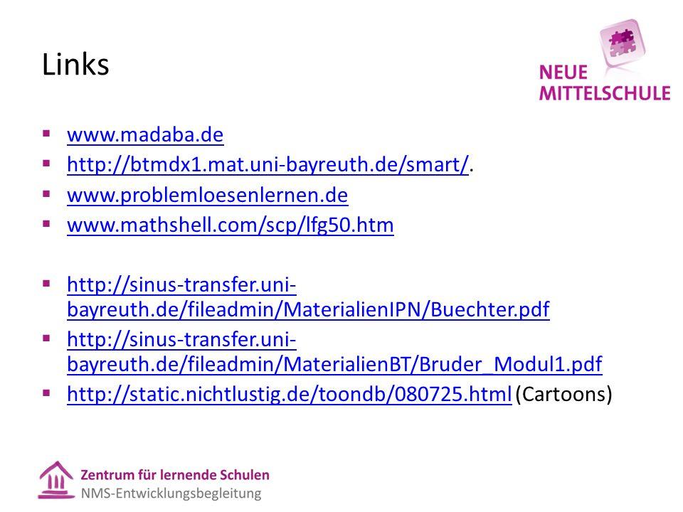 Links  www.madaba.de www.madaba.de  http://btmdx1.mat.uni-bayreuth.de/smart/. http://btmdx1.mat.uni-bayreuth.de/smart/  www.problemloesenlernen.de