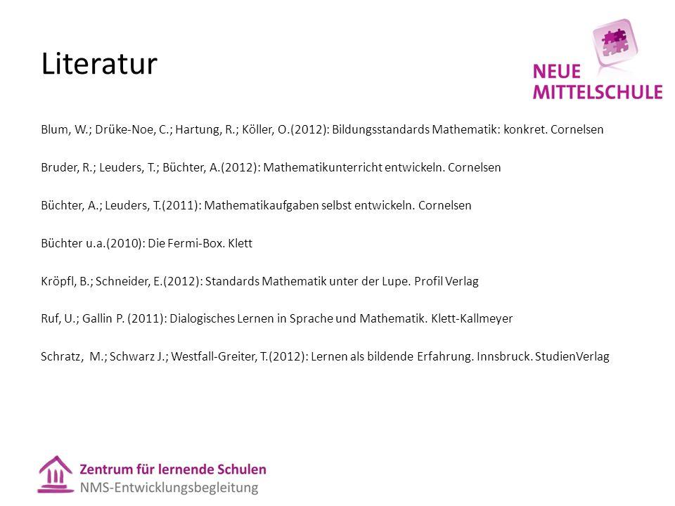 Literatur Blum, W.; Drüke-Noe, C.; Hartung, R.; Köller, O.(2012): Bildungsstandards Mathematik: konkret. Cornelsen Bruder, R.; Leuders, T.; Büchter, A
