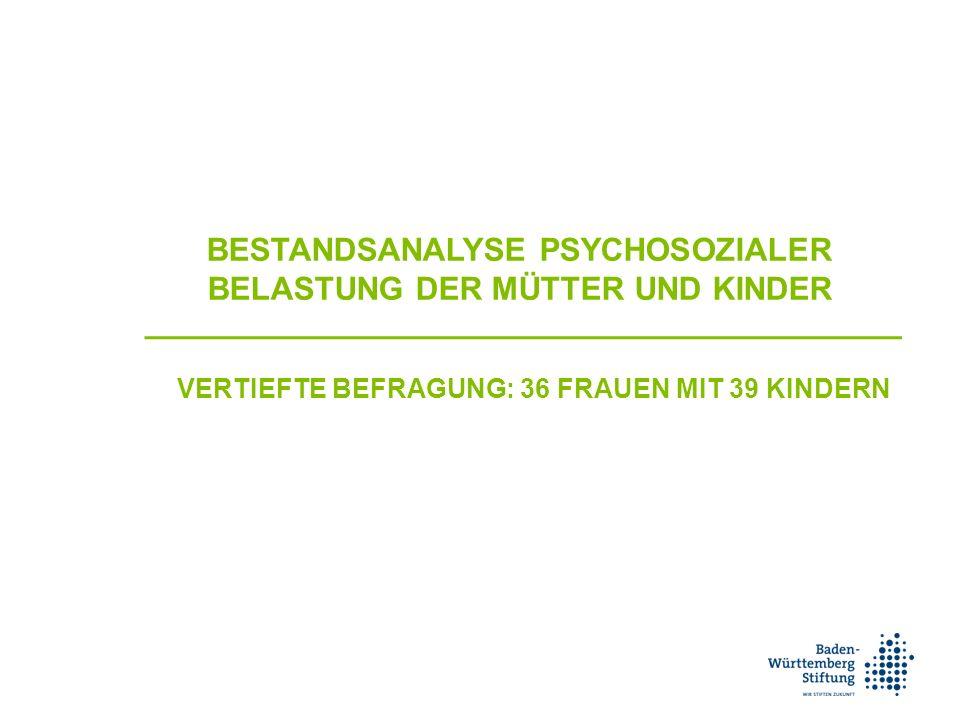 BESTANDSANALYSE PSYCHOSOZIALER BELASTUNG DER MÜTTER UND KINDER VERTIEFTE BEFRAGUNG: 36 FRAUEN MIT 39 KINDERN