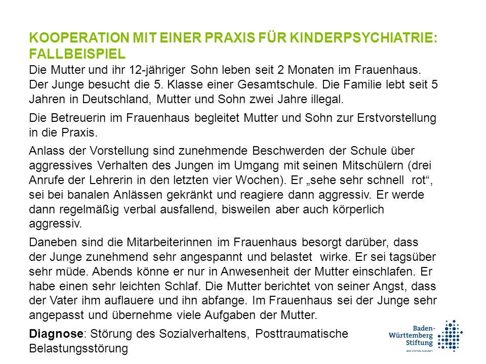 KOOPERATION MIT EINER PRAXIS FÜR KINDERPSYCHIATRIE: FALLBEISPIEL Die Mutter und ihr 12-jähriger Sohn leben seit 2 Monaten im Frauenhaus.