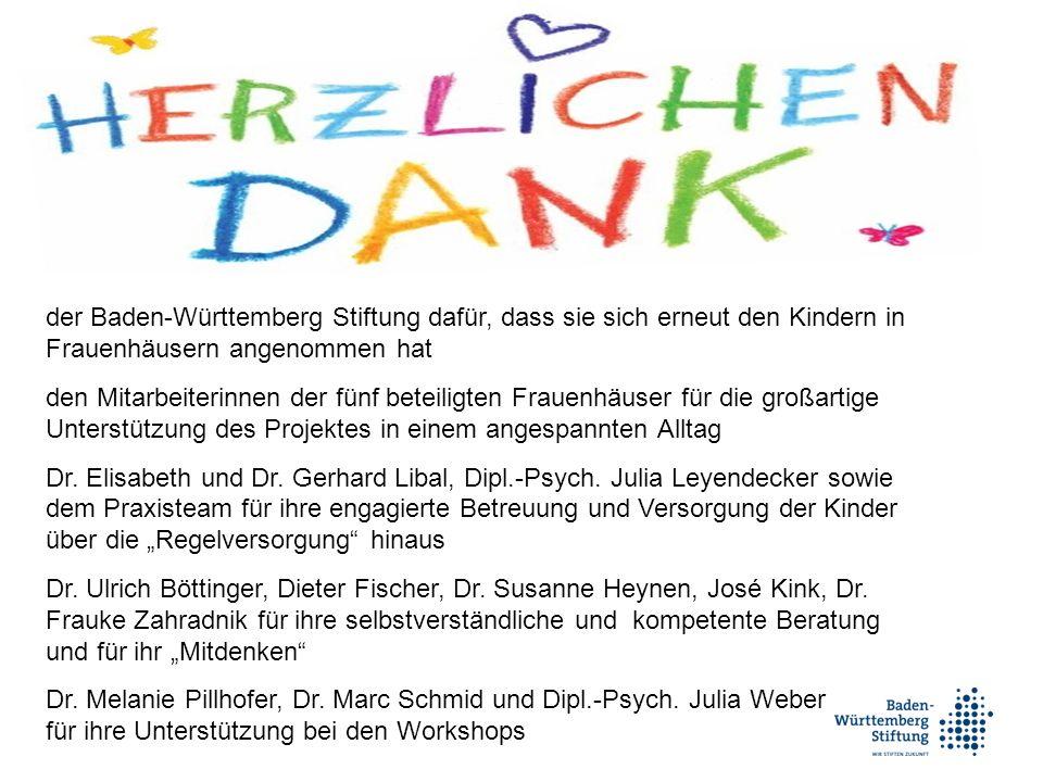 der Baden-Württemberg Stiftung dafür, dass sie sich erneut den Kindern in Frauenhäusern angenommen hat den Mitarbeiterinnen der fünf beteiligten Frauenhäuser für die großartige Unterstützung des Projektes in einem angespannten Alltag Dr.