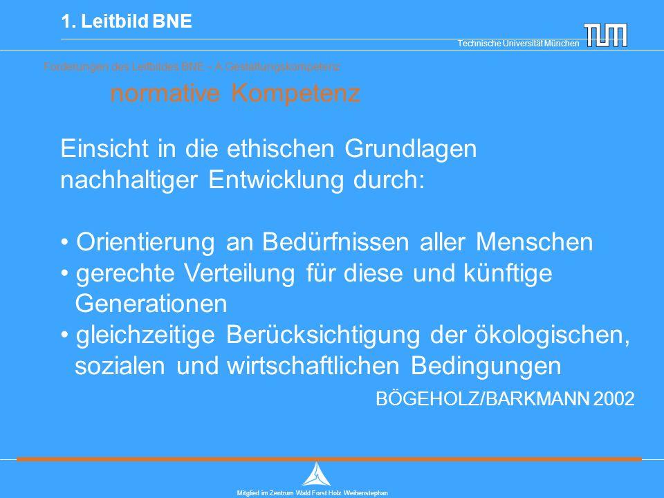 Technische Universität München Mitglied im Zentrum Wald Forst Holz Weihenstephan Forderungen des Leitbildes BNE – A Gestaltungskompetenz normative Kompetenz 1.