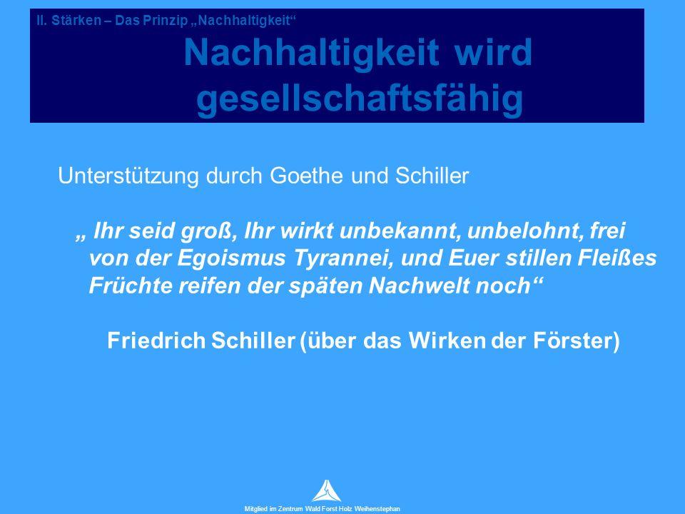 """Technische Universität München Mitglied im Zentrum Wald Forst Holz Weihenstephan Unterstützung durch Goethe und Schiller """" Ihr seid groß, Ihr wirkt unbekannt, unbelohnt, frei von der Egoismus Tyrannei, und Euer stillen Fleißes Früchte reifen der späten Nachwelt noch Friedrich Schiller (über das Wirken der Förster) II."""