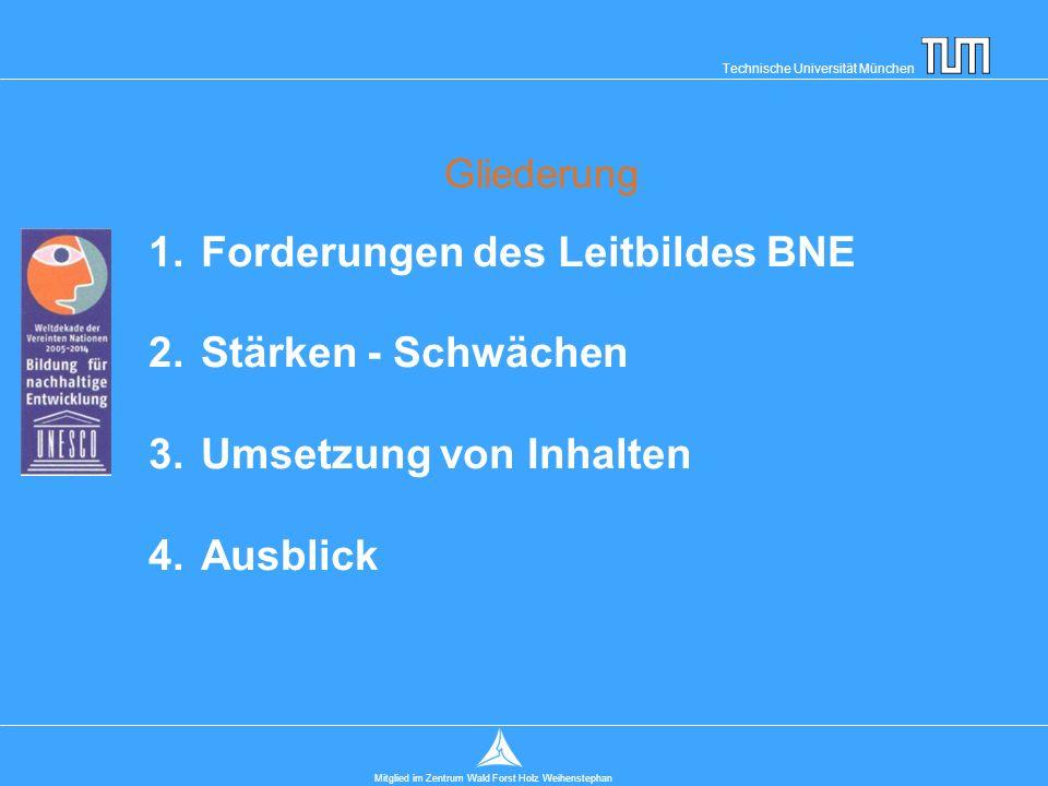 Technische Universität München Mitglied im Zentrum Wald Forst Holz Weihenstephan Gliederung 1.Forderungen des Leitbildes BNE 2.Stärken - Schwächen 3.Umsetzung von Inhalten 4.Ausblick