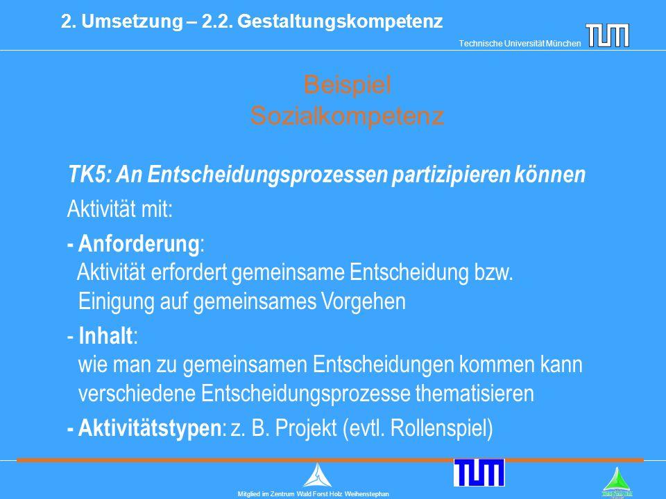 Technische Universität München Mitglied im Zentrum Wald Forst Holz Weihenstephan Beispiel Sozialkompetenz 2.