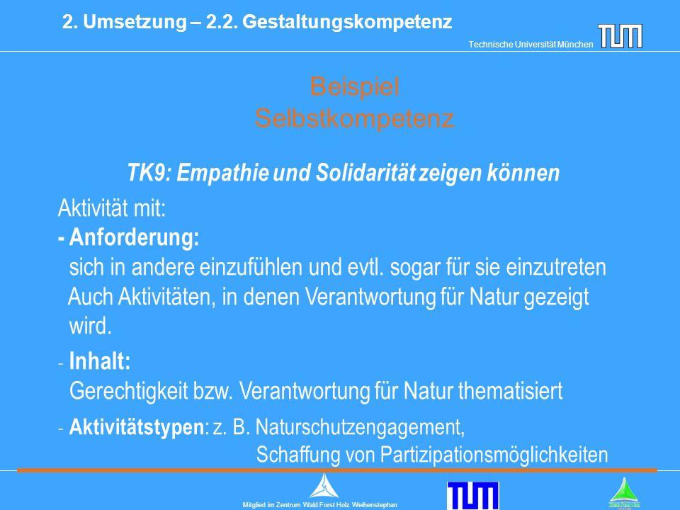 Technische Universität München Mitglied im Zentrum Wald Forst Holz Weihenstephan Beispiel Selbstkompetenz 2.