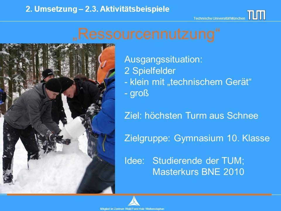 """Technische Universität München Mitglied im Zentrum Wald Forst Holz Weihenstephan """"Ressourcennutzung 2."""