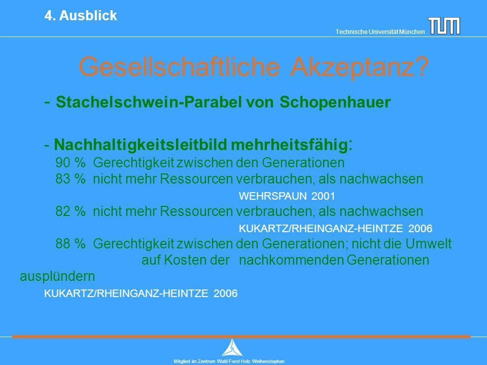 Technische Universität München Mitglied im Zentrum Wald Forst Holz Weihenstephan Gesellschaftliche Akzeptanz.