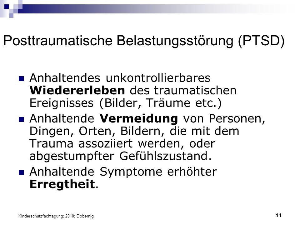 11 Posttraumatische Belastungsstörung (PTSD) Anhaltendes unkontrollierbares Wiedererleben des traumatischen Ereignisses (Bilder, Träume etc.) Anhaltende Vermeidung von Personen, Dingen, Orten, Bildern, die mit dem Trauma assoziiert werden, oder abgestumpfter Gefühlszustand.