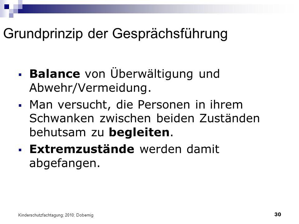 30 Grundprinzip der Gesprächsführung  Balance von Überwältigung und Abwehr/Vermeidung.