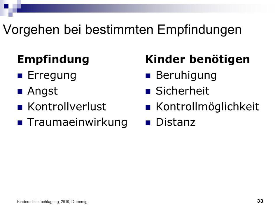 Vorgehen bei bestimmten Empfindungen Empfindung Erregung Angst Kontrollverlust Traumaeinwirkung Kinder benötigen Beruhigung Sicherheit Kontrollmöglichkeit Distanz 33 Kinderschutzfachtagung; 2010; Dobernig
