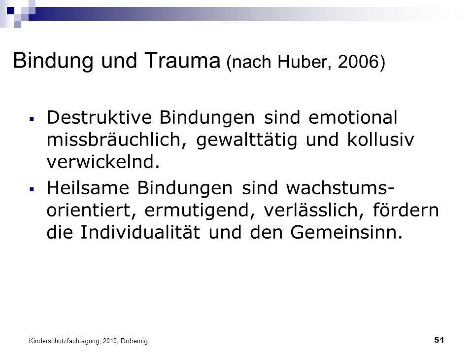 51 Bindung und Trauma (nach Huber, 2006)  Destruktive Bindungen sind emotional missbräuchlich, gewalttätig und kollusiv verwickelnd.