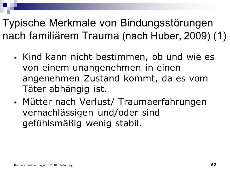 52 Typische Merkmale von Bindungsstörungen nach familiärem Trauma (nach Huber, 2009) (1)  Kind kann nicht bestimmen, ob und wie es von einem unangenehmen in einen angenehmen Zustand kommt, da es vom Täter abhängig ist.