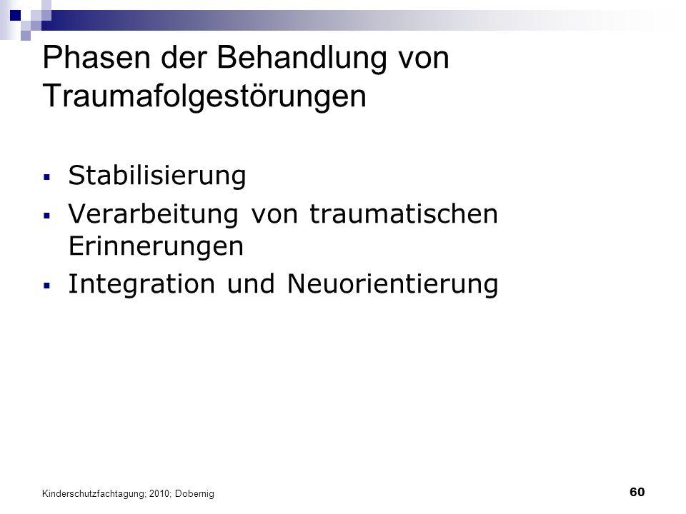 60 Phasen der Behandlung von Traumafolgestörungen  Stabilisierung  Verarbeitung von traumatischen Erinnerungen  Integration und Neuorientierung Kinderschutzfachtagung; 2010; Dobernig