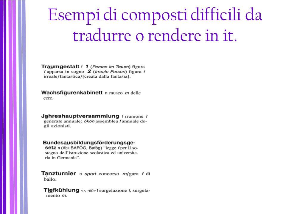 Esempi di composti difficili da tradurre o rendere in it.