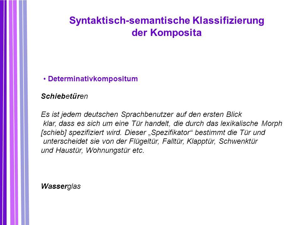 Syntaktisch-semantische Klassifizierung der Komposita Determinativkompositum Schiebetüren Es ist jedem deutschen Sprachbenutzer auf den ersten Blick k