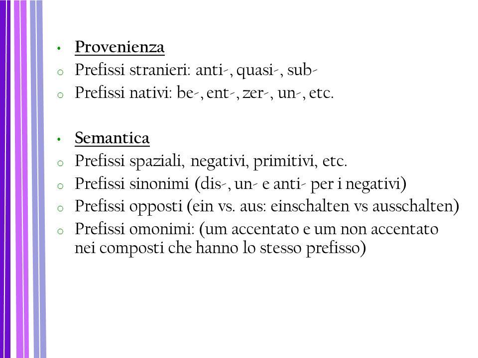 Provenienza o Prefissi stranieri: anti-, quasi-, sub- o Prefissi nativi: be-, ent-, zer-, un-, etc. Semantica o Prefissi spaziali, negativi, primitivi