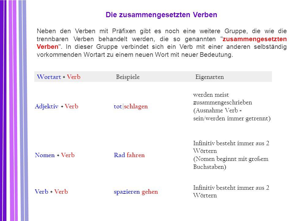 Wortart + Verb BeispieleEigenarten Adjektiv + Verbtot | schlagen werden meist zusammengeschrieben (Ausnahme Verb = sein/werden immer getrennt) Nomen +