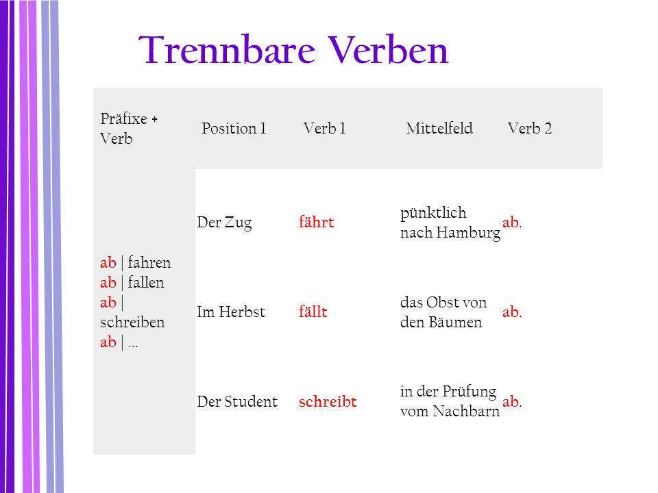 Präfixe + Verb Position 1Verb 1MittelfeldVerb 2 ab | fahren ab | fallen ab | schreiben ab |... Der Zug fährt pünktlich nach Hamburg ab. Im Herbst fäll
