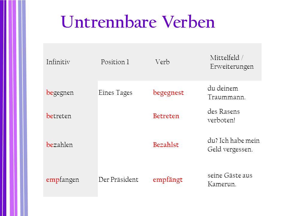 InfinitivPosition 1Verb Mittelfeld / Erweiterungen be gegnen Eines Tages begegnest du deinem Traummann. be treten Betreten des Rasens verboten! be zah
