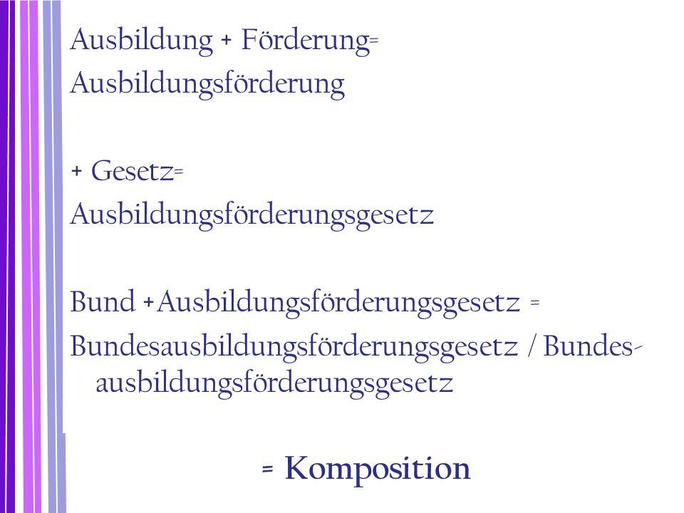 Die Komposition (Zusammensetzung) Die Komposition verbindet zwei (oder mehrere) lexikalische Morpheme (Lexeme) zu einem neuen Wort.