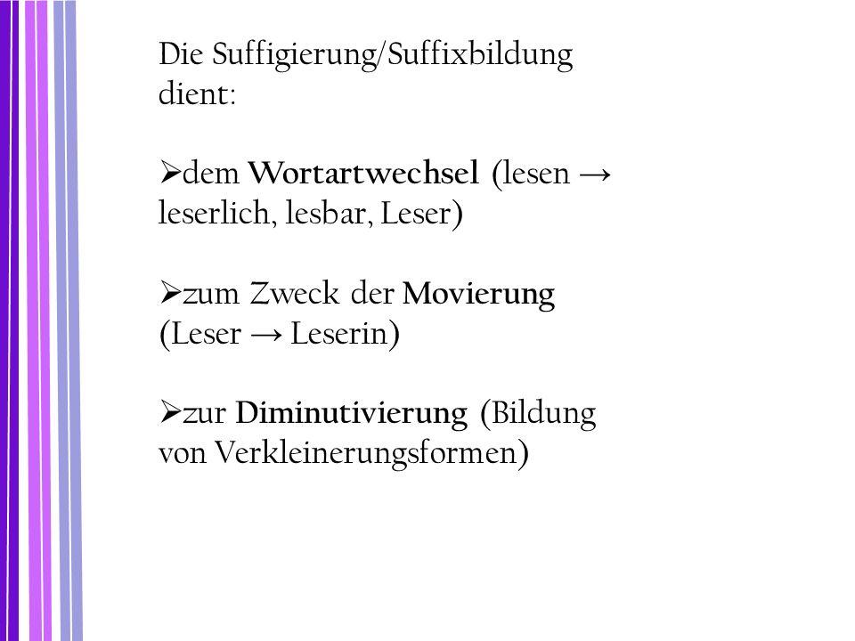 Die Suffigierung/Suffixbildung dient:  dem Wortartwechsel (lesen → leserlich, lesbar, Leser)  zum Zweck der Movierung (Leser → Leserin)  zur Diminu