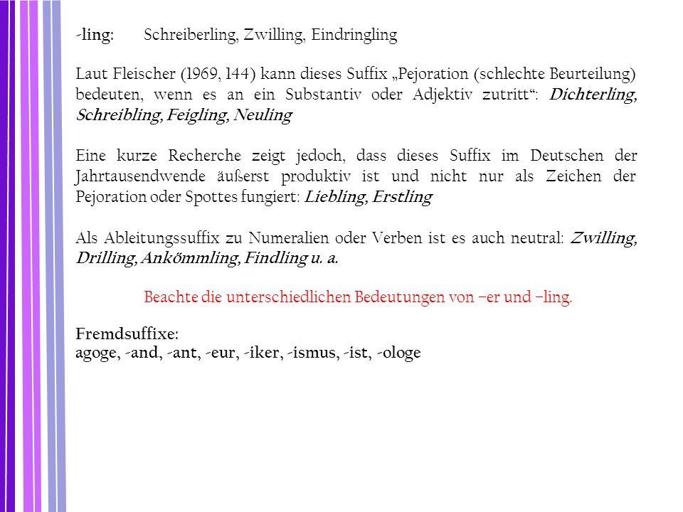 """-ling: Schreiberling, Zwilling, Eindringling Laut Fleischer (1969, 144) kann dieses Suffix """"Pejoration (schlechte Beurteilung) bedeuten, wenn es an ei"""