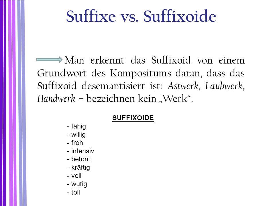 Suffixe vs. Suffixoide Man erkennt das Suffixoid von einem Grundwort des Kompositums daran, dass das Suffixoid desemantisiert ist: Astwerk, Laubwerk,