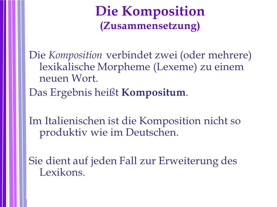 Die Komposition (Zusammensetzung) Die Komposition verbindet zwei (oder mehrere) lexikalische Morpheme (Lexeme) zu einem neuen Wort. Das Ergebnis heißt
