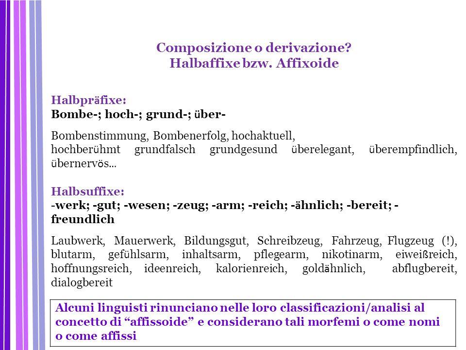 Composizione o derivazione? Halbaffixe bzw. Affixoide Halbpr ä fixe: Bombe-; hoch-; grund-; ü ber- Bombenstimmung, Bombenerfolg, hochaktuell, hochber