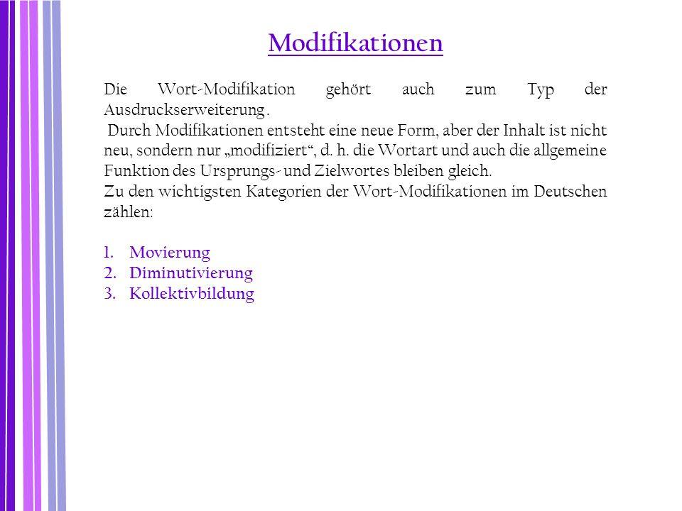 Modifikationen Die Wort-Modifikation gehört auch zum Typ der Ausdruckserweiterung. Durch Modifikationen entsteht eine neue Form, aber der Inhalt ist n