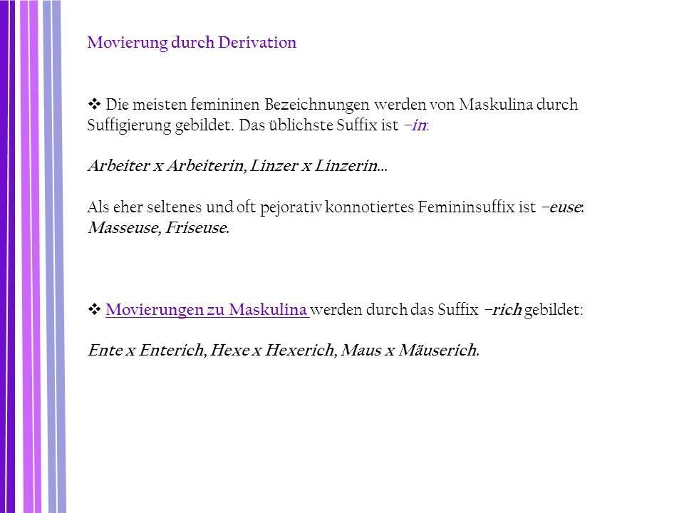 Movierung durch Derivation  Die meisten femininen Bezeichnungen werden von Maskulina durch Suffigierung gebildet. Das üblichste Suffix ist –in : Arbe