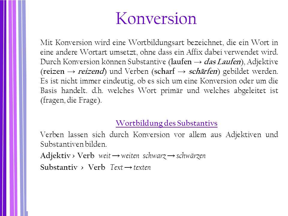 Konversion Mit Konversion wird eine Wortbildungsart bezeichnet, die ein Wort in eine andere Wortart umsetzt, ohne dass ein Affix dabei verwendet wird.