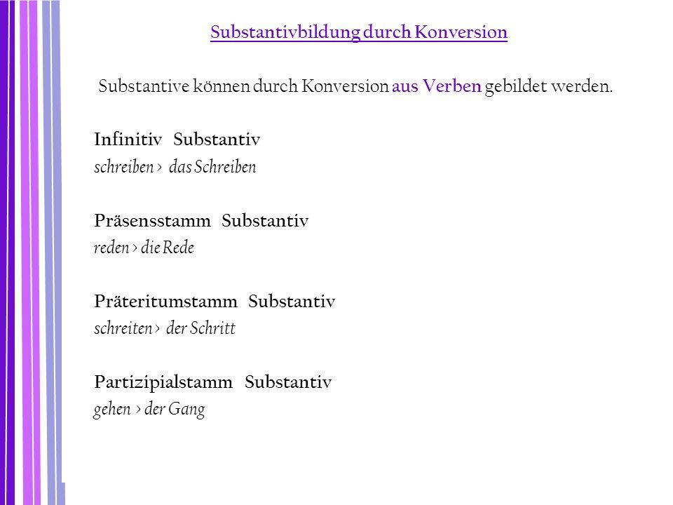 Substantivbildung durch Konversion Substantive können durch Konversion aus Verben gebildet werden. Infinitiv Substantiv schreiben > das Schreiben Präs