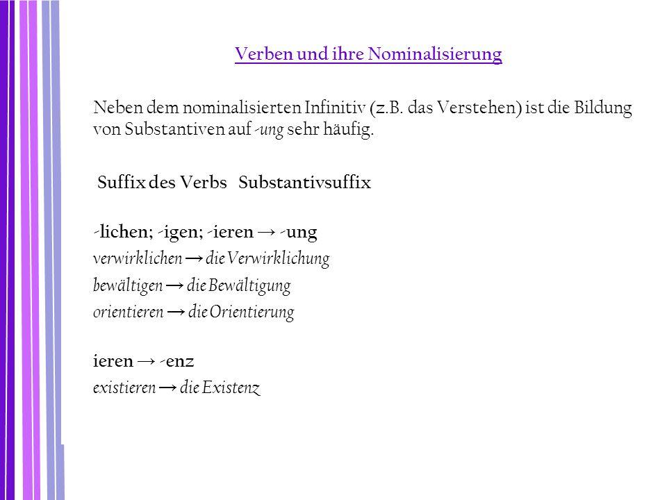 Verben und ihre Nominalisierung Neben dem nominalisierten Infinitiv (z.B. das Verstehen) ist die Bildung von Substantiven auf -ung sehr häufig. Suffix