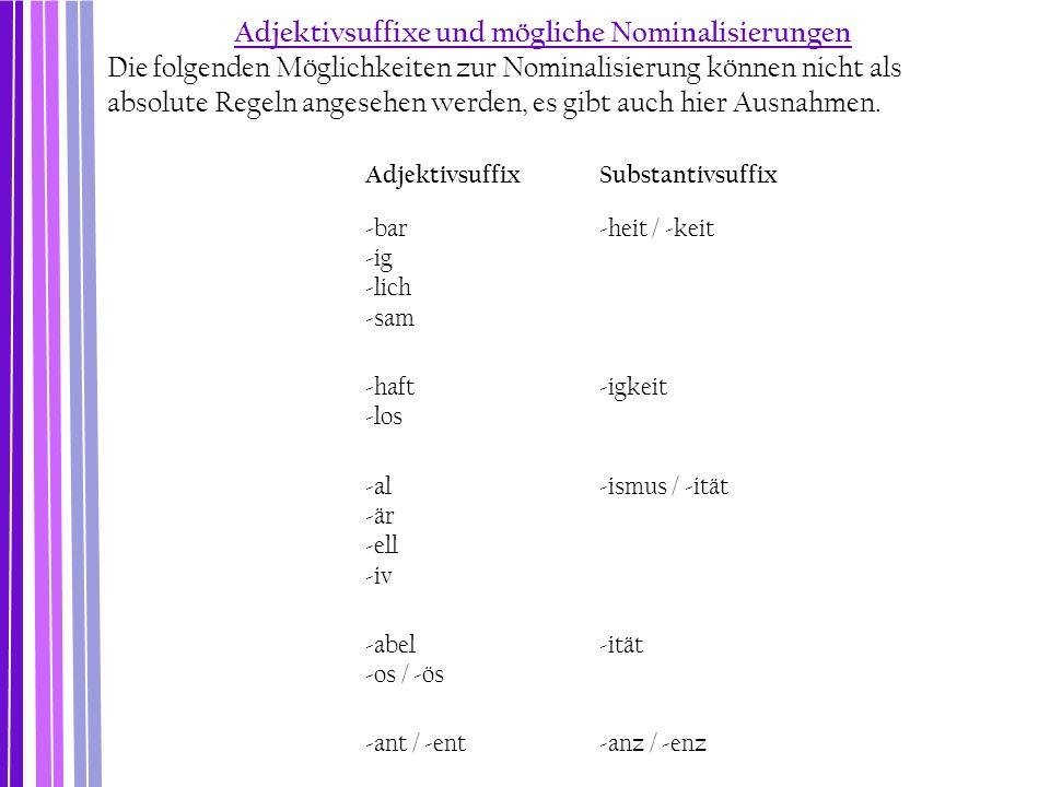 AdjektivsuffixSubstantivsuffix -bar -ig -lich -sam -heit / -keit -haft -los -igkeit -al -är -ell -iv -ismus / -ität -abel -os / -ös -ität -ant / -ent-
