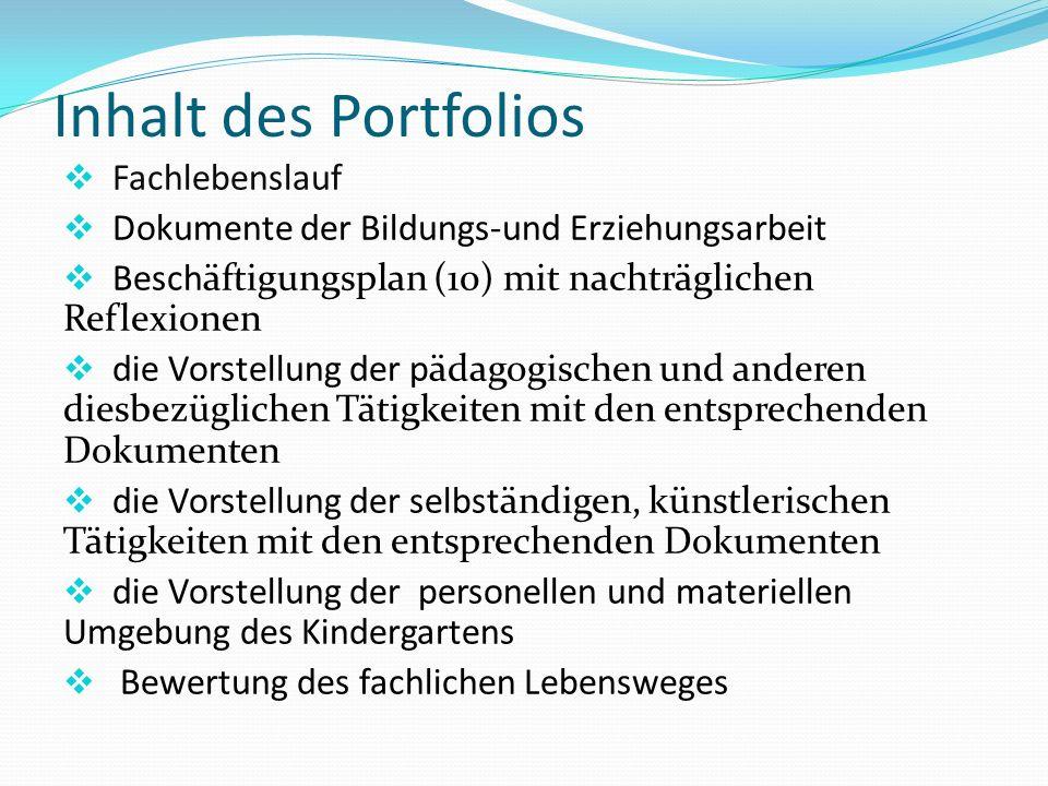 Inhalt des Portfolios  Fachlebenslauf  Dokumente der Bildungs-und Erziehungsarbeit  Beschäftigungsplan (10) mit nachträglichen Reflexionen  die Vo