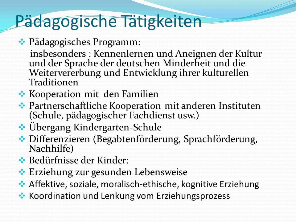 Pädagogische Tätigkeiten  Pädagogisches Programm: insbesonders : Kennenlernen und Aneignen der Kultur und der Sprache der deutschen Minderheit und di