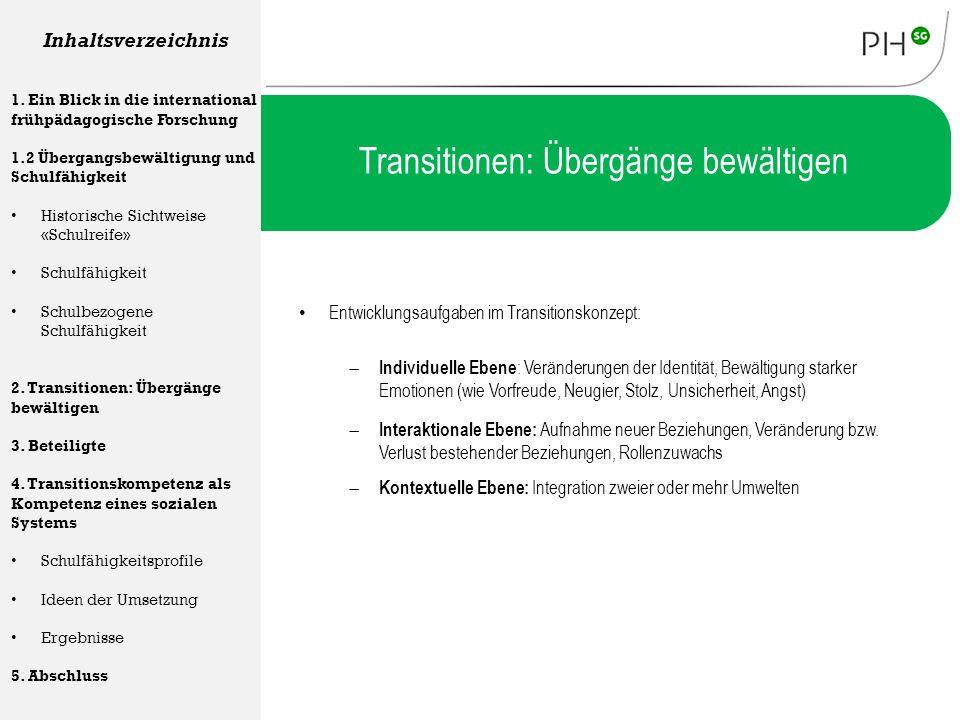 Transitionen: Übergänge bewältigen Entwicklungsaufgaben im Transitionskonzept: Inhaltsverzeichnis 1. Ein Blick in die international frühpädagogische F